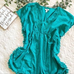 Old Navy Teal Pom Pom Swimsuit Coverup